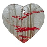 Magic Forest In Red And White Heart Ornament (2 Sides) Front