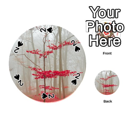 Magic Forest In Red And White Playing Cards 54 (Round)