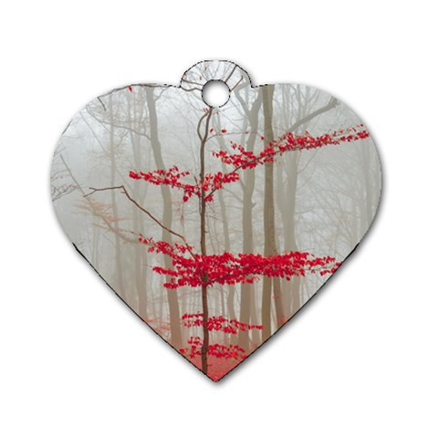Magic Forest In Red And White Dog Tag Heart (Two Sides)