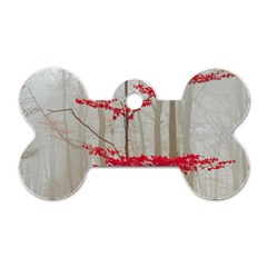 Magic Forest In Red And White Dog Tag Bone (one Side)