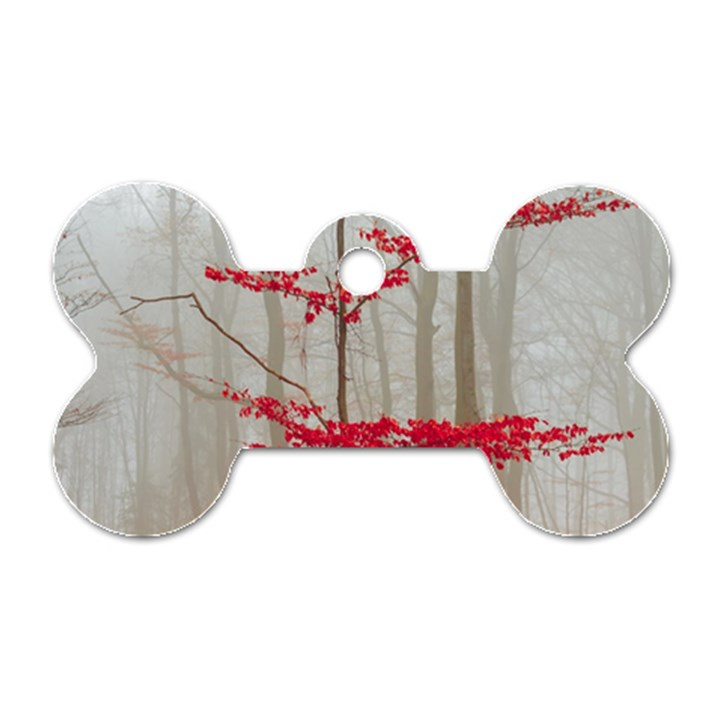 Magic Forest In Red And White Dog Tag Bone (Two Sides)