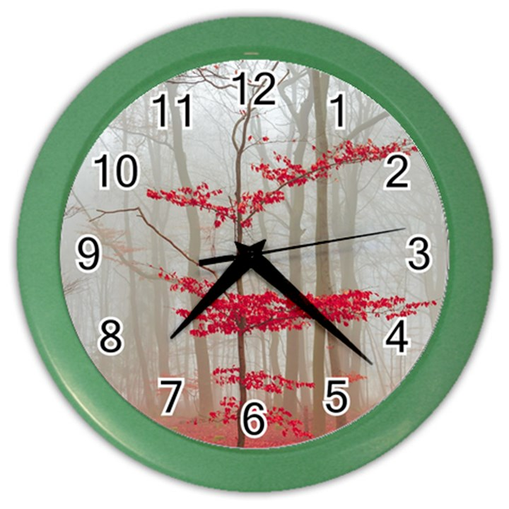 Magic Forest In Red And White Color Wall Clocks