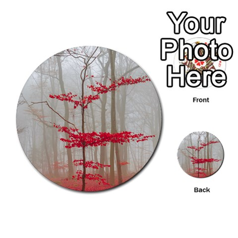Magic Forest In Red And White Multi-purpose Cards (Round)