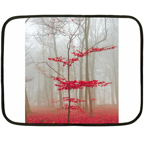 Magic Forest In Red And White Double Sided Fleece Blanket (Mini)