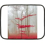 Magic Forest In Red And White Double Sided Fleece Blanket (Mini)  35 x27 Blanket Back