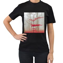Magic Forest In Red And White Women s T-Shirt (Black)