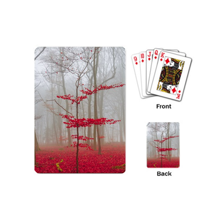 Magic Forest In Red And White Playing Cards (Mini)
