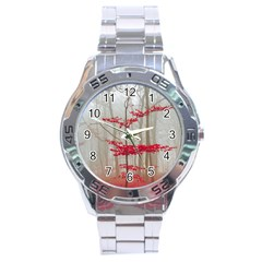 Magic Forest In Red And White Stainless Steel Analogue Watch