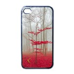 Magic Forest In Red And White Apple iPhone 4 Case (Black) Front