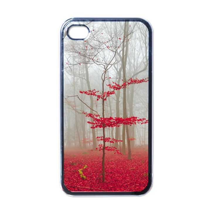Magic Forest In Red And White Apple iPhone 4 Case (Black)