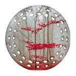 Magic Forest In Red And White Round Filigree Ornament (2Side) Back