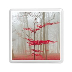 Magic Forest In Red And White Memory Card Reader (square)