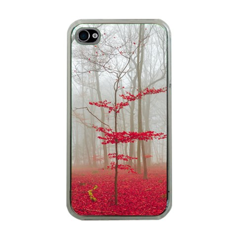 Magic Forest In Red And White Apple iPhone 4 Case (Clear)
