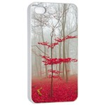 Magic Forest In Red And White Apple iPhone 4/4s Seamless Case (White) Front