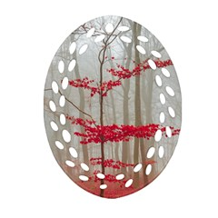 Magic Forest In Red And White Oval Filigree Ornament (2-Side)