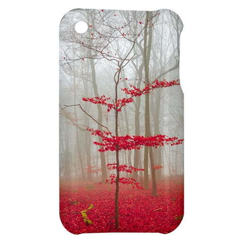 Magic Forest In Red And White Apple iPhone 3G/3GS Hardshell Case