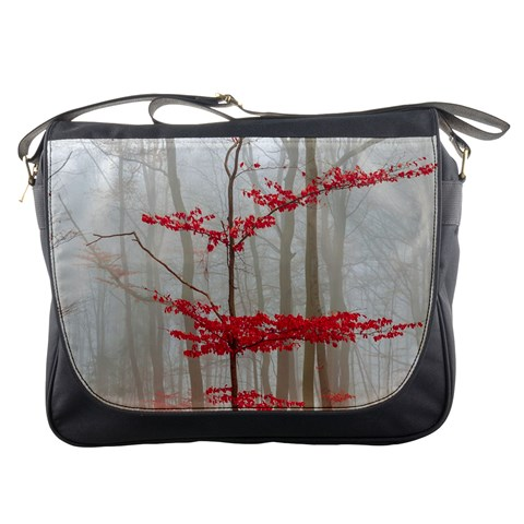 Magic Forest In Red And White Messenger Bags