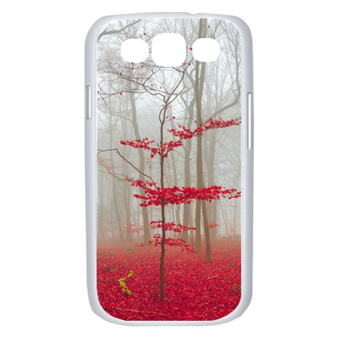 Magic Forest In Red And White Samsung Galaxy S III Case (White)