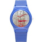 Magic Forest In Red And White Round Plastic Sport Watch (S) Front