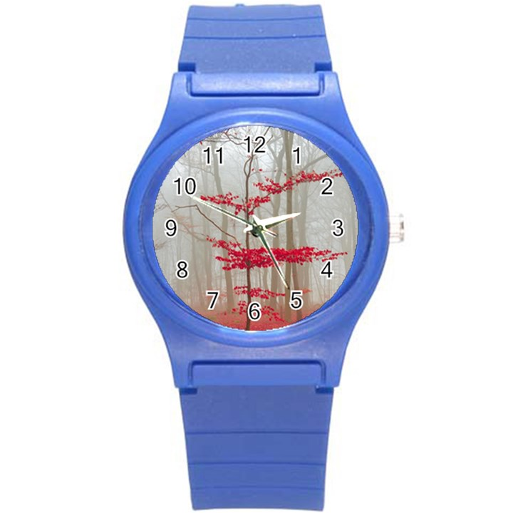 Magic Forest In Red And White Round Plastic Sport Watch (S)