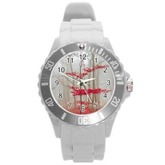 Magic Forest In Red And White Round Plastic Sport Watch (L)