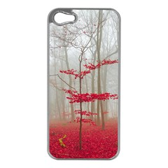 Magic Forest In Red And White Apple iPhone 5 Case (Silver)
