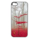 Magic Forest In Red And White Apple iPhone 5 Case (Silver) Front