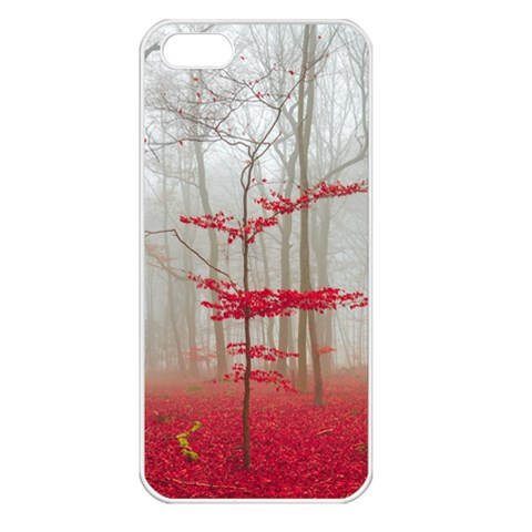 Magic Forest In Red And White Apple iPhone 5 Seamless Case (White)