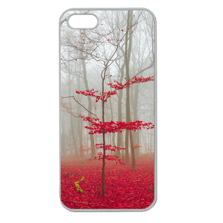 Magic Forest In Red And White Apple Seamless iPhone 5 Case (Clear)