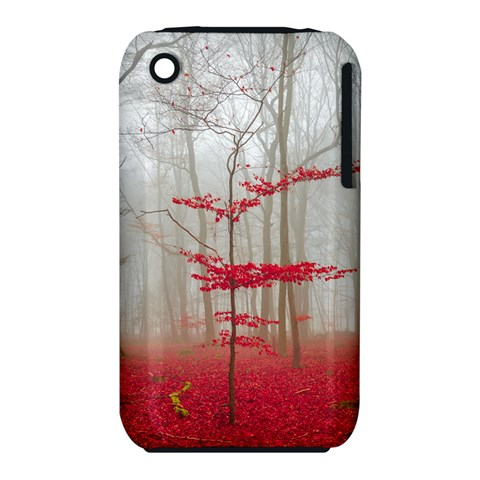 Magic Forest In Red And White Apple iPhone 3G/3GS Hardshell Case (PC+Silicone)