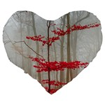 Magic Forest In Red And White Large 19  Premium Heart Shape Cushions Back