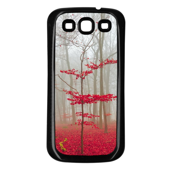 Magic Forest In Red And White Samsung Galaxy S3 Back Case (Black)