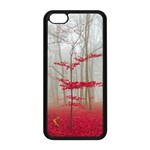 Magic Forest In Red And White Apple iPhone 5C Seamless Case (Black) Front