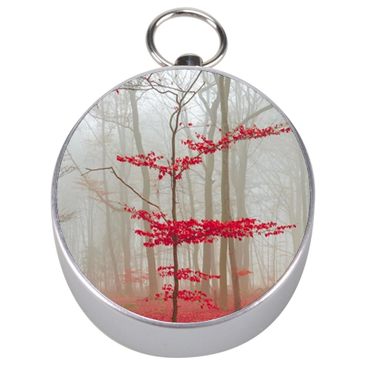 Magic Forest In Red And White Silver Compasses