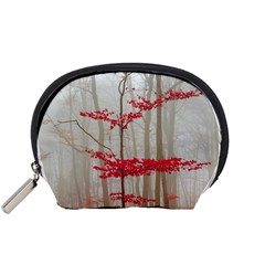 Magic Forest In Red And White Accessory Pouches (small)