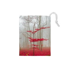Magic Forest In Red And White Drawstring Pouches (small)