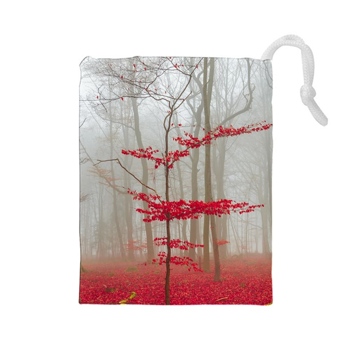 Magic Forest In Red And White Drawstring Pouches (Large)