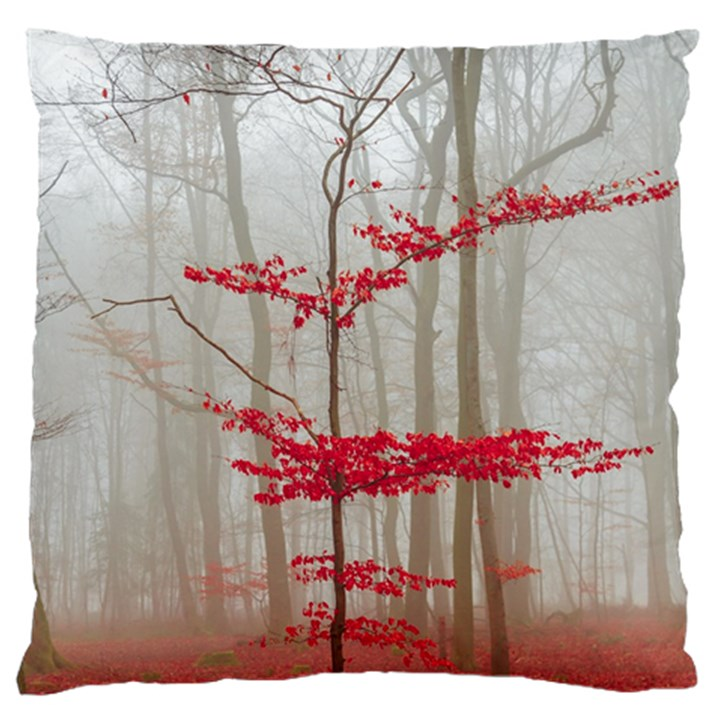 Magic Forest In Red And White Large Flano Cushion Case (One Side)