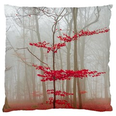 Magic Forest In Red And White Large Flano Cushion Case (Two Sides)