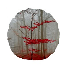 Magic Forest In Red And White Standard 15  Premium Flano Round Cushions