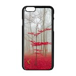 Magic Forest In Red And White Apple iPhone 6/6S Black Enamel Case Front