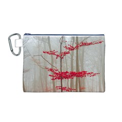 Magic Forest In Red And White Canvas Cosmetic Bag (m)