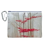 Magic Forest In Red And White Canvas Cosmetic Bag (L) Front