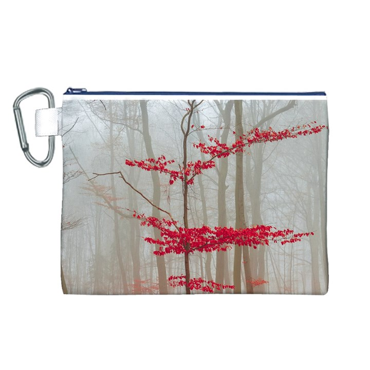 Magic Forest In Red And White Canvas Cosmetic Bag (L)