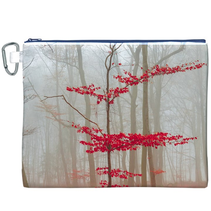 Magic Forest In Red And White Canvas Cosmetic Bag (XXXL)