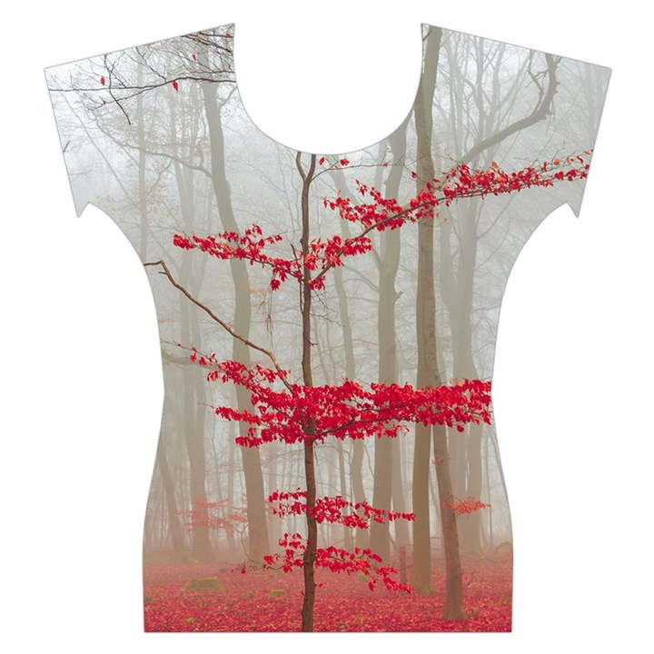 Magic Forest In Red And White Women s Cap Sleeve Top