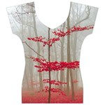 Magic Forest In Red And White Women s V-Neck Cap Sleeve Top Front