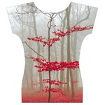 Magic Forest In Red And White Women s V-Neck Cap Sleeve Top Back