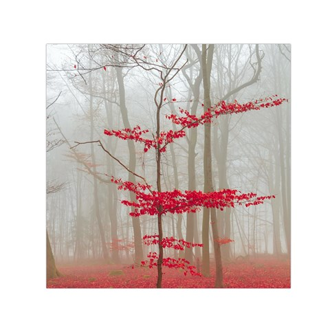 Magic Forest In Red And White Small Satin Scarf (Square)