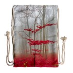 Magic Forest In Red And White Drawstring Bag (Large) Back